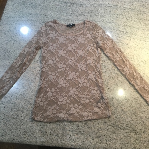 Forever 21 Tops - Nude lace long sleeve shirt